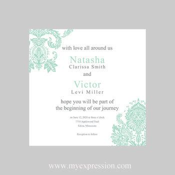 Wedding Invitation Template 5x5 Square