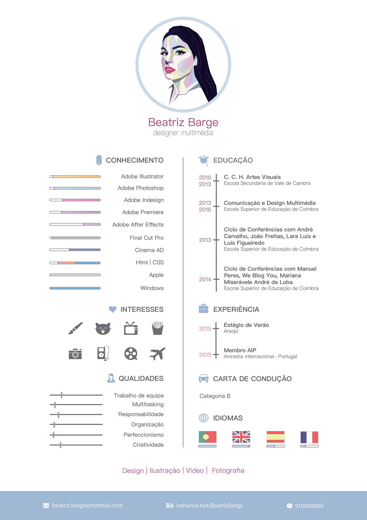 Curriculum vitae on Behance | ✪ RésuMé ✪ | Pinterest | Currículum ...