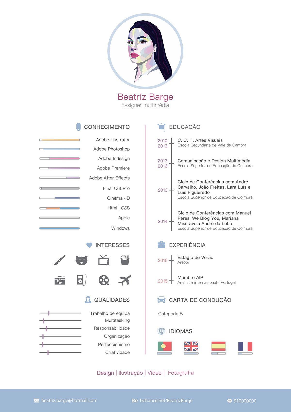 Curriculum vitae on Behance 창의적인 이력서, 인포그래픽 이력서, 디자인 이력서