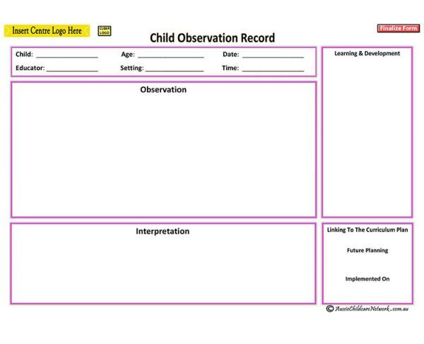 Running Record Behavior Observation Form For Preschool