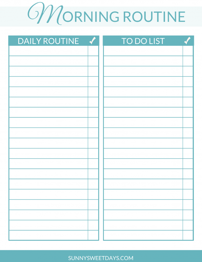 Create a better Morning Routine! Free Printable. Morning