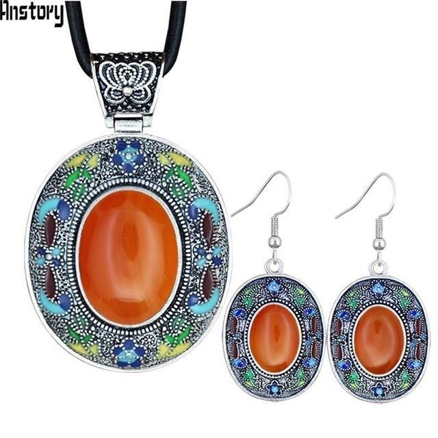 Vintage Oval Opal Jewelry Sets Natural Lapis Tiger Eey Unakite Quartz Necklace Earrings Bohemia Fashion Jewelry NE+EA TS456 - Opal 70cm #quartznecklace