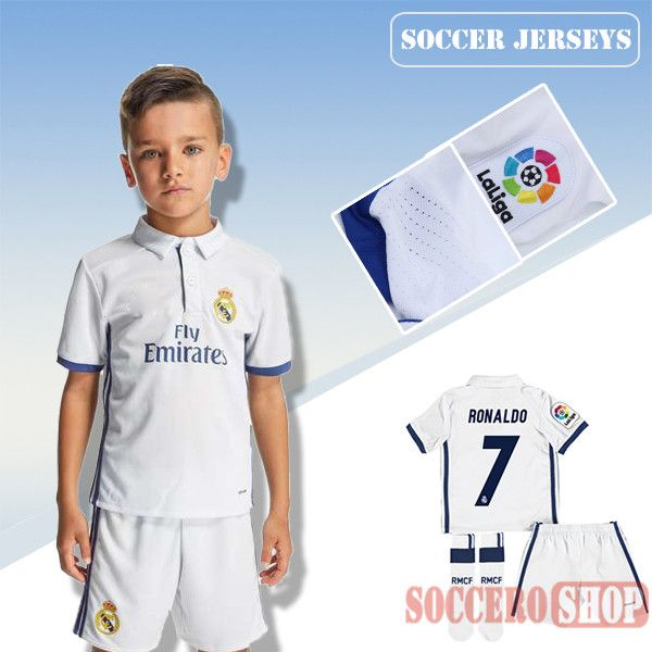 sale retailer 89954 124e5 Newest Cool Real Madrid White 2016-2017 Home Kids Soccer ...
