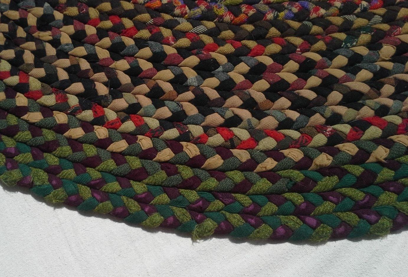 Vintage wool braided rug 4 5 x 5 5 ft ebay