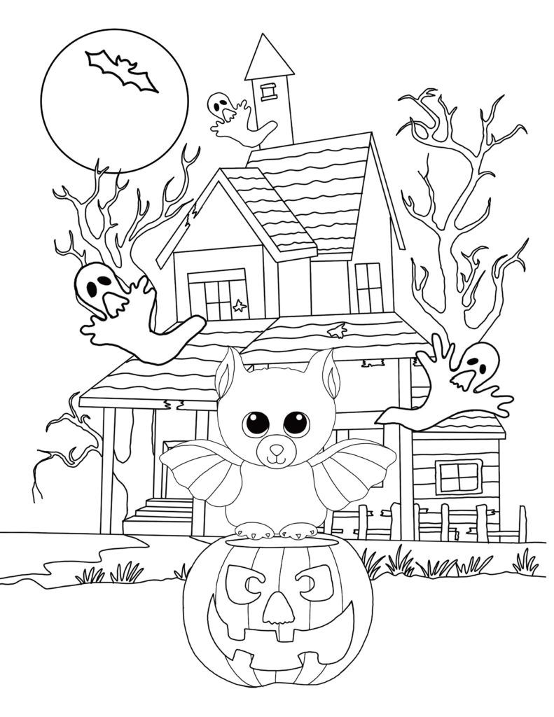 Halloween Beanie Boo Coloring Page Free Downloadable Sheets Bat Coloring Pages Witch Coloring Pages Halloween Coloring