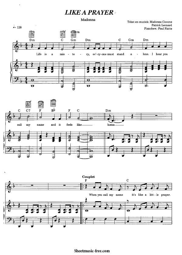 Like A Prayer Sheet Music Madonna Partituras Madonna Musica