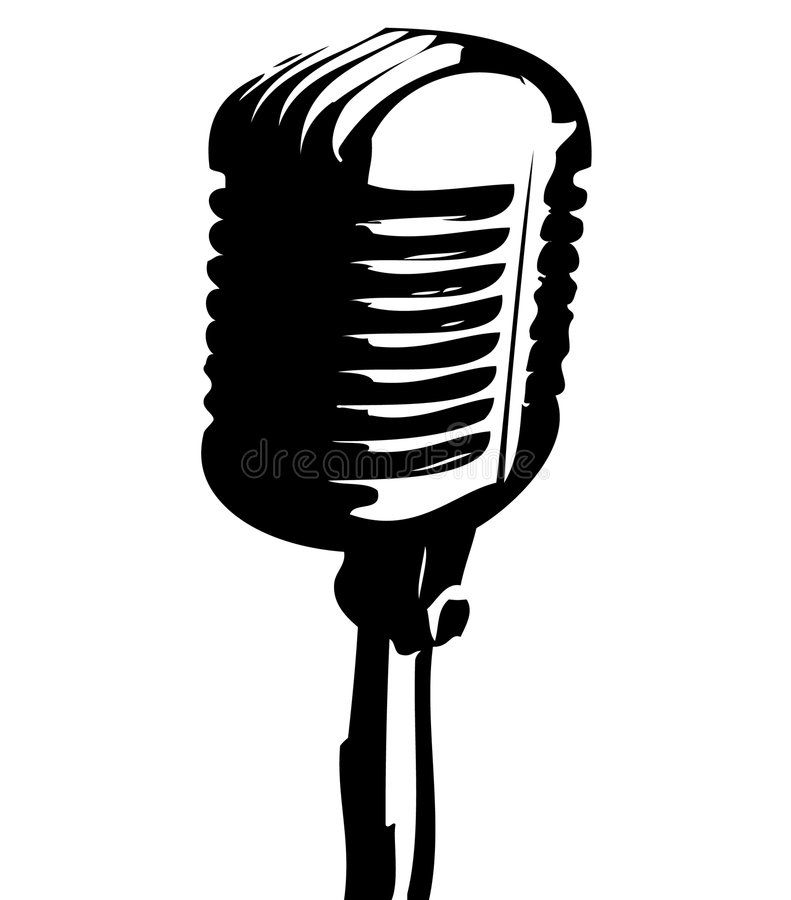 Old Mic A Vector Illustration Containing An Old Fashioned Microphone Ad Vector Mic Illustration In 2020 Vintage Microphone Vintage Tattoo Microphone Drawing