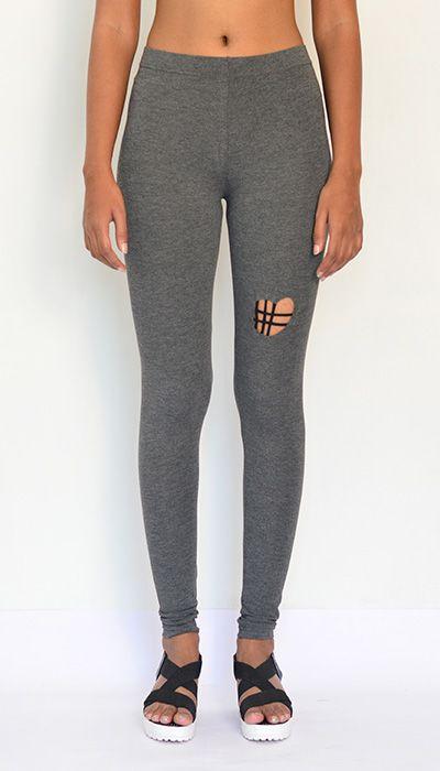 """""""Heart Detailed Slit"""" Cotton & Lycra Leggings- Full Length. Buy Now : https://www.estrolo.com/product-category/women/leggings/ #GreyLeggings #Leggings"""
