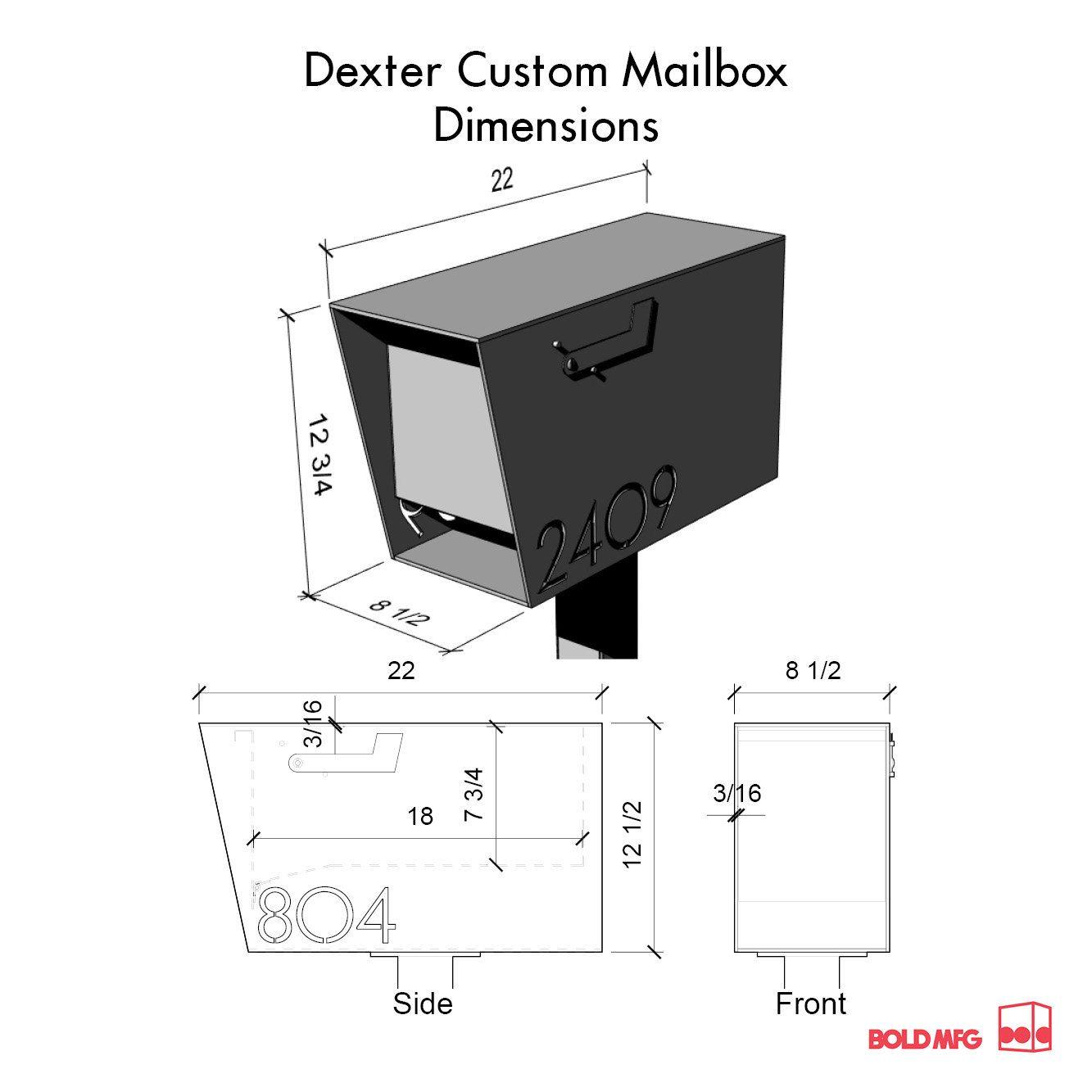 The Dexter Custom Mailbox Steel Modern Metal Letter Box Etsy Custom Mailboxes Classic Mailbox Backyard Fences