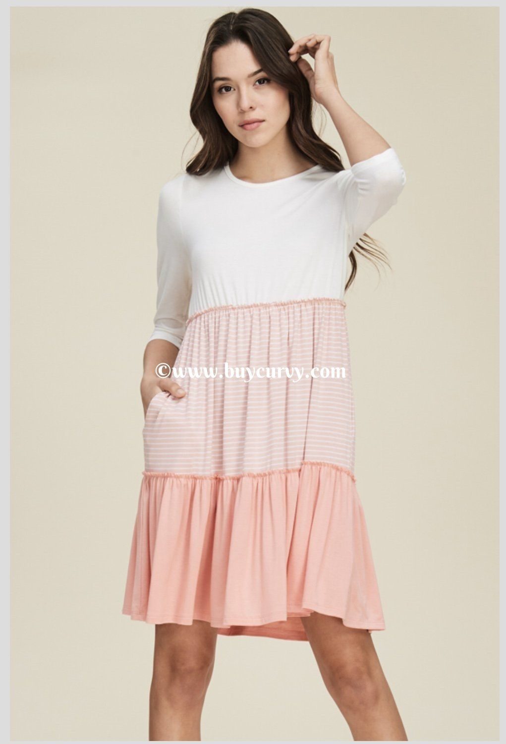 1-A  Class Act  PEACH Tunic Dress with Contrast Layers 5585bc154