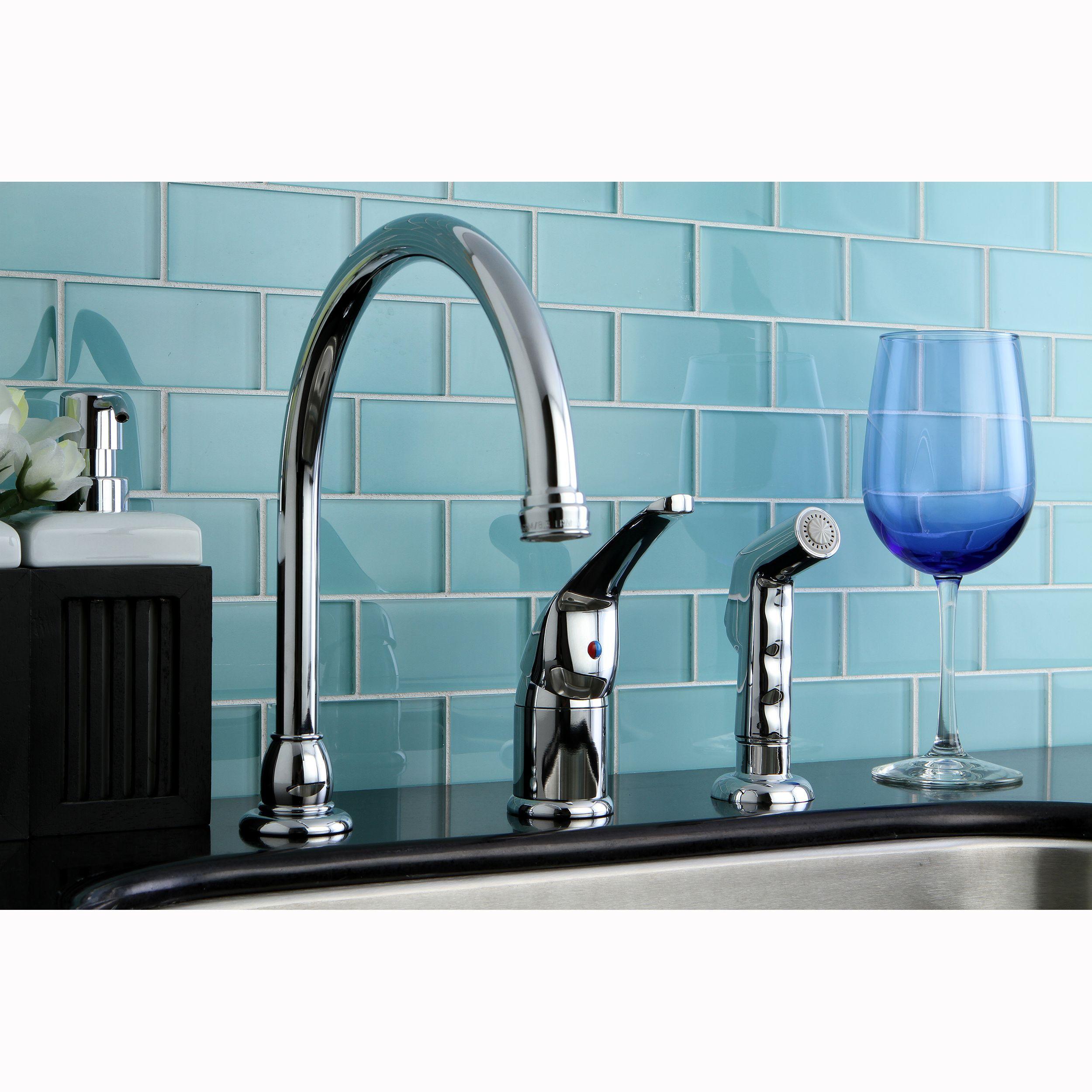 Kingston Brass Chrome Kitchen Faucet, Silver