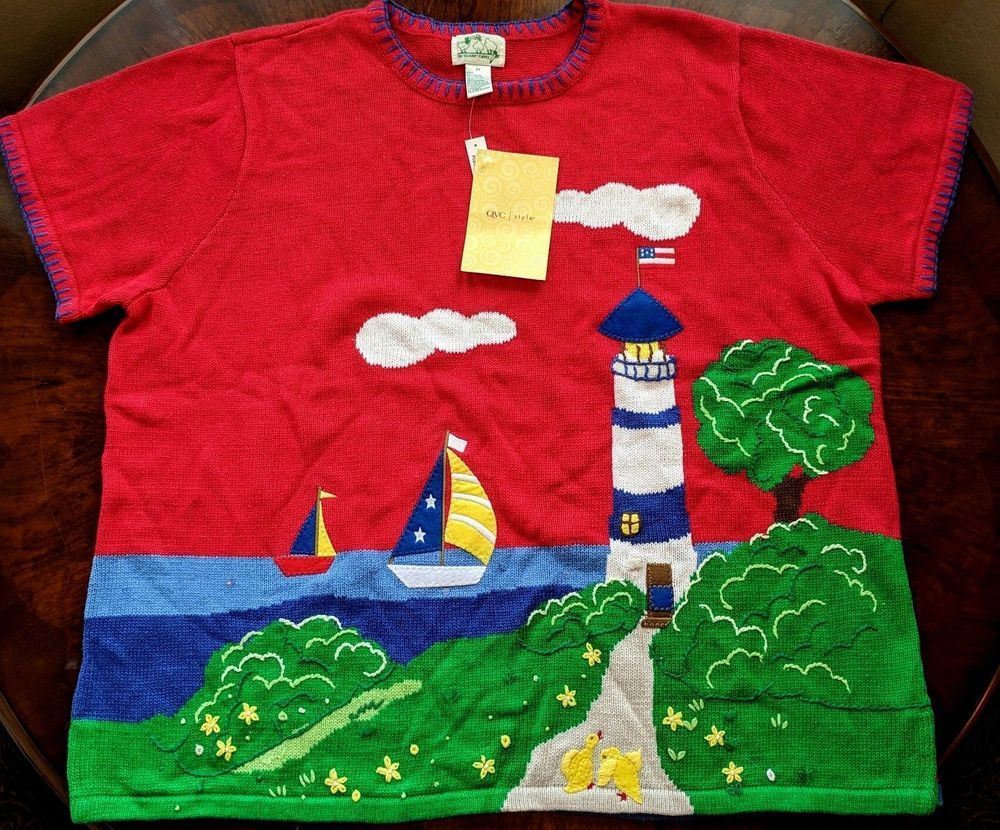 Quacker Factory NWT Short Sleeve Sweater With Lighthouse