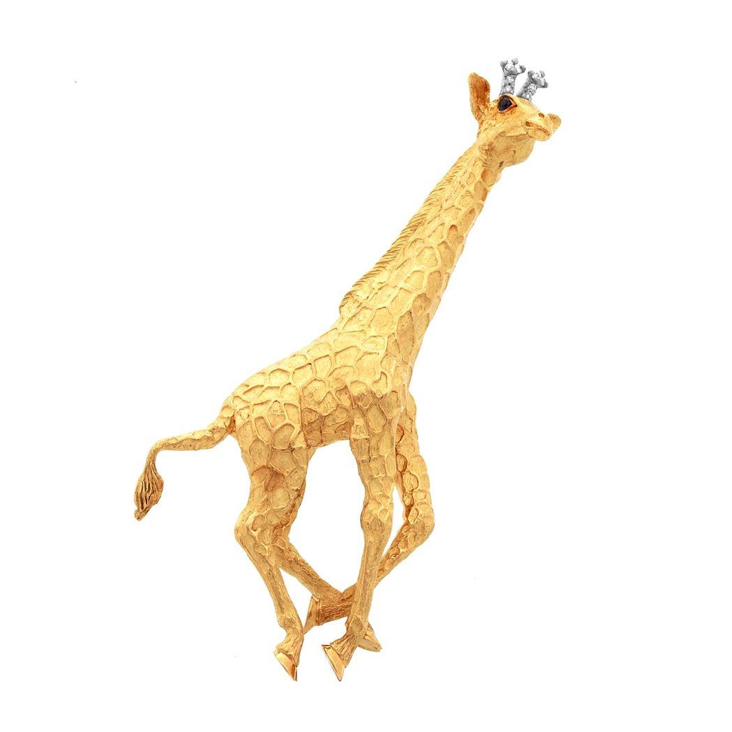 d670fde520b4d Gold, Sapphire and Diamond Giraffe Brooch, Tiffany & Co.   Animal jwl
