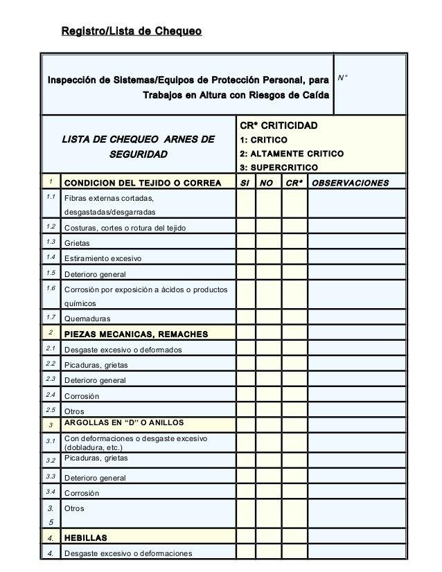 Registro Lista De Chequeo Inspección De Sistemas Equipos De Protección Personal Para Trabajos En Altur Equipo De Proteccion Personal Proteccion Personal Arnes