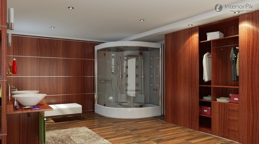 bathroom spacious apartment bathroom design with walk in closet curved glass shower door - Closet Bathroom Design