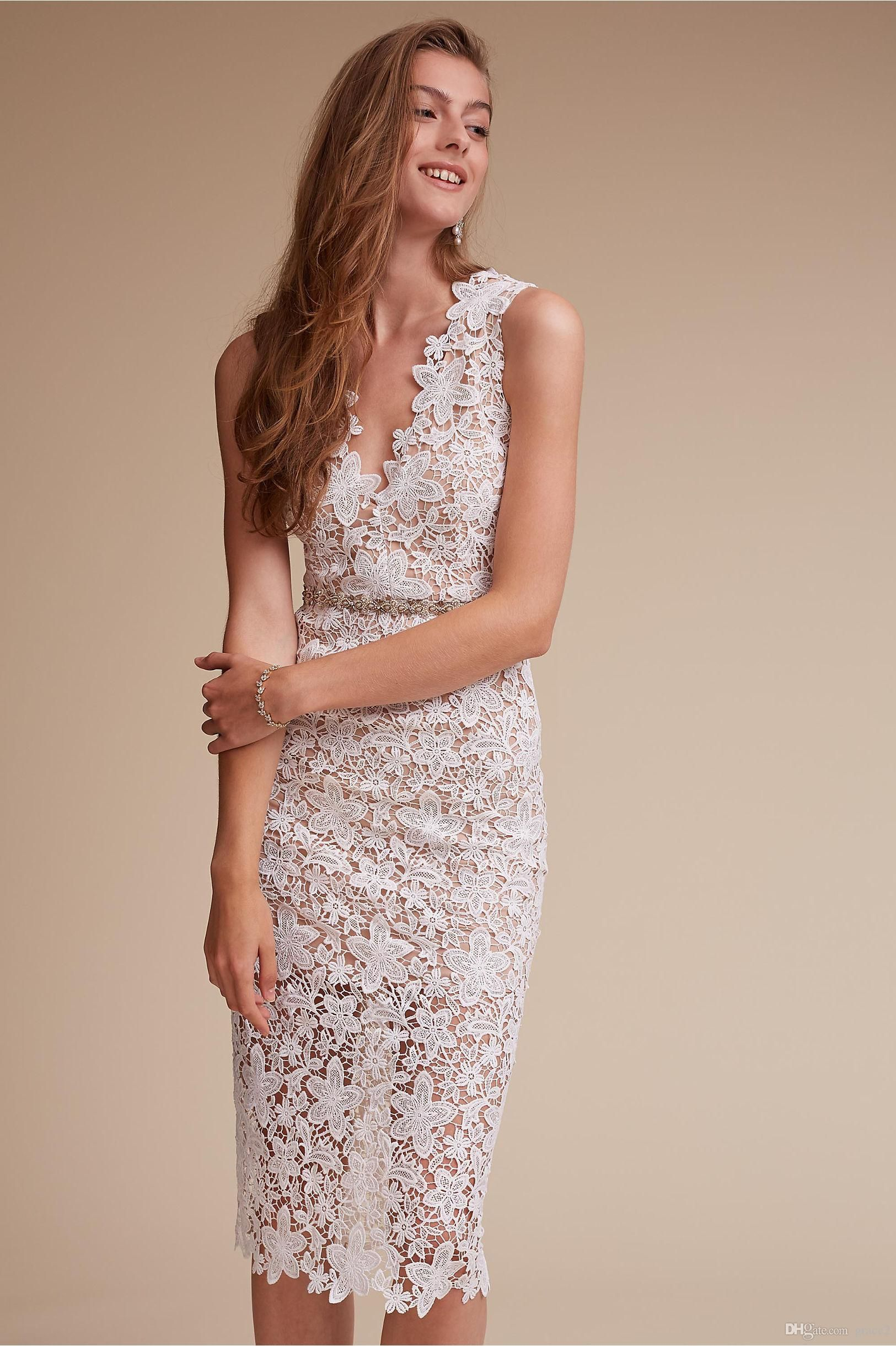 Beach dresses for weddings  Lace Short Wedding Dresses  Bhldn with V Neck and Beaded Sash