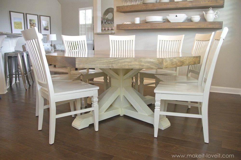 DIY Octagon Dining Room Table…with a farmhouse base! | Honey ...