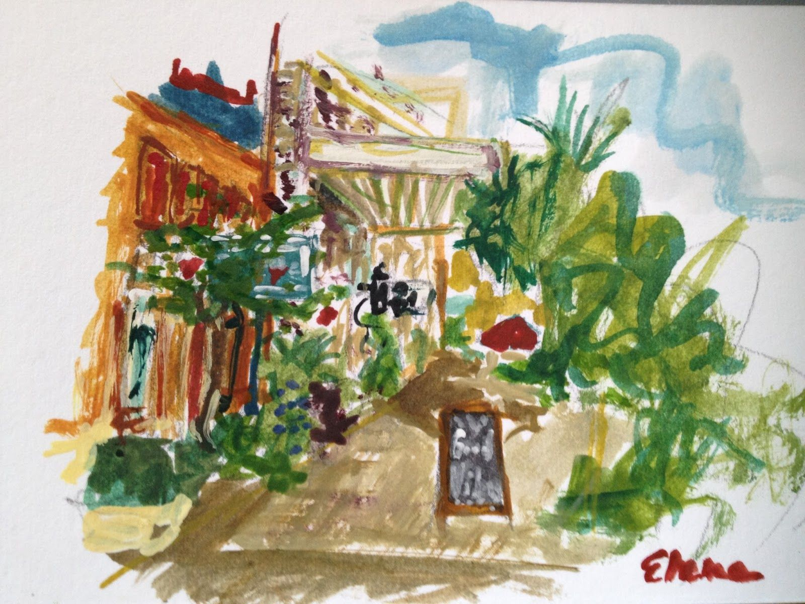 Watercolor Of Postoffice Street And The Entrance To Tangerine