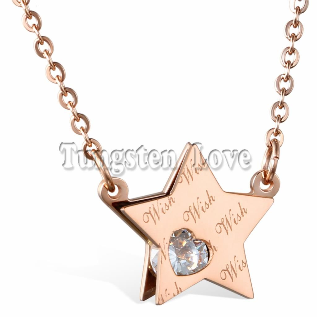 Click to Buy Cute Wish Star Design Woman Necklaces Rose Gold