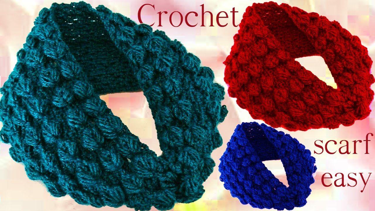 Aprende hacer bufanda infinita con hojas en relieve a Crochet ...