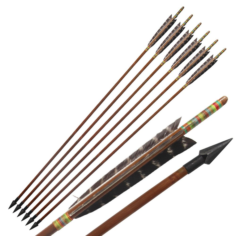 6Pcs/Lot Handmade Bamboo ArrowsEagle Feather for 20-70Lbs Long Bow ...