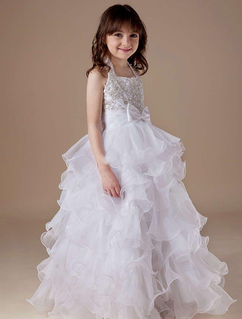 Organza tiered halter beading wedding dress for kids abbys pins