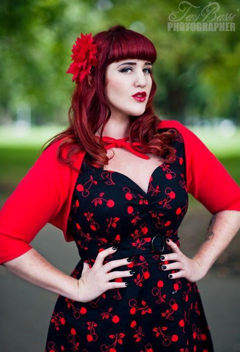 Vintage retro Cherry dress bolero Plus Size Model #Teer Wayde ...