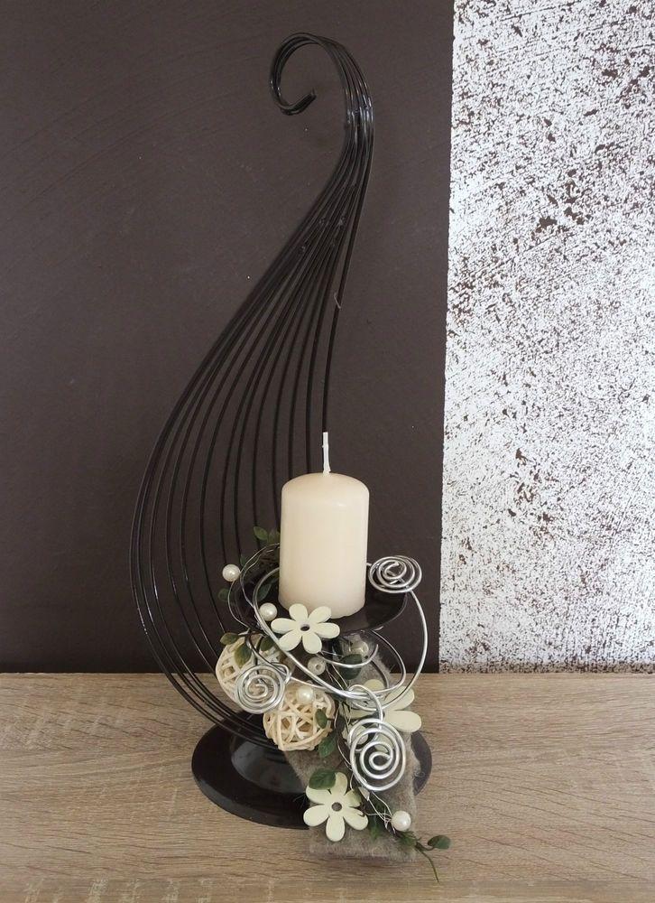 Tischgesteck Tischdeko Gesteck Kerzenhalter Creme Braun Craft