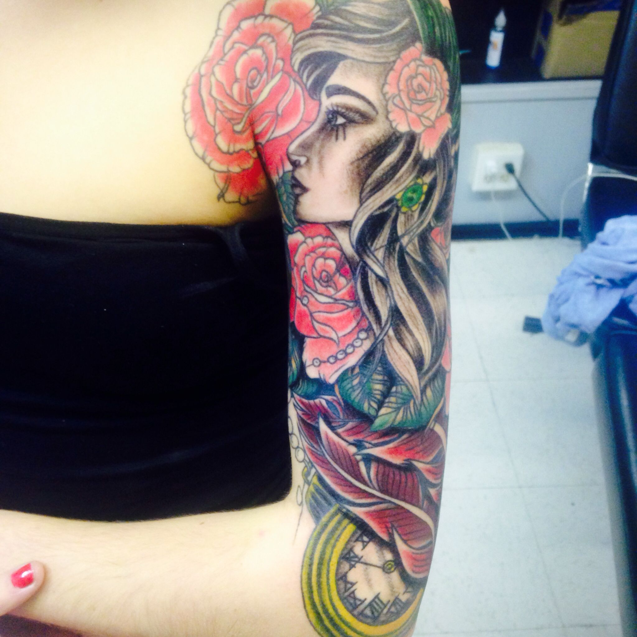 Half sleeve for girls girls with tattoos rose tattoo pocket watch