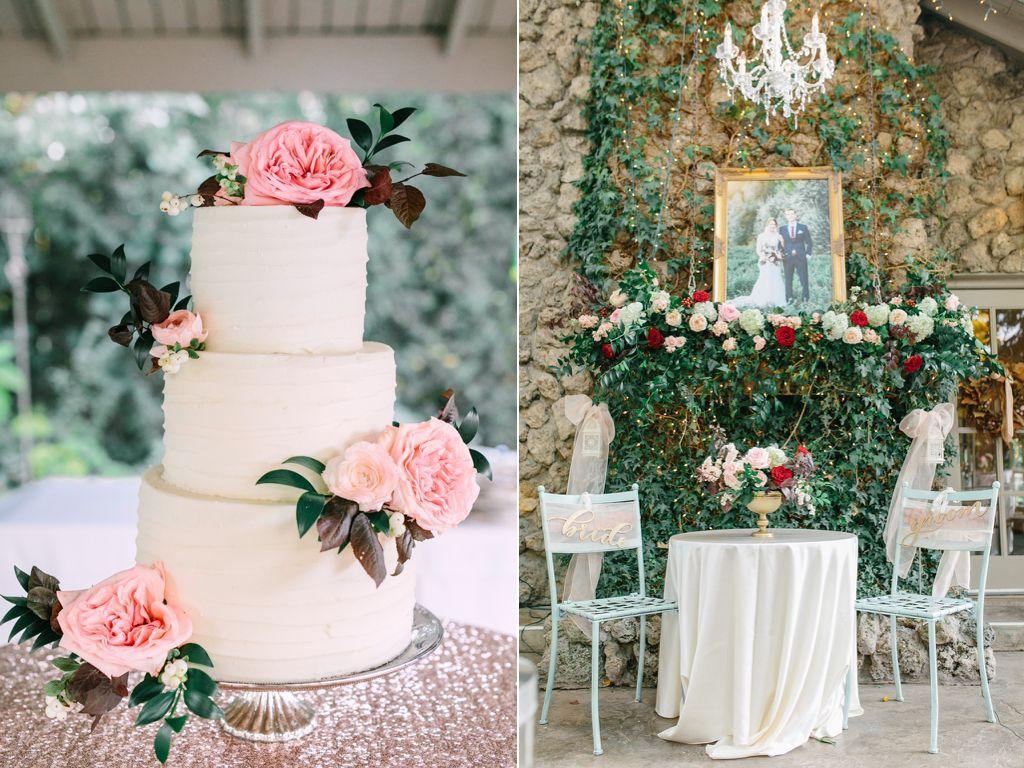 blush garden rose wedding cake flowers fireplace mantel wedding