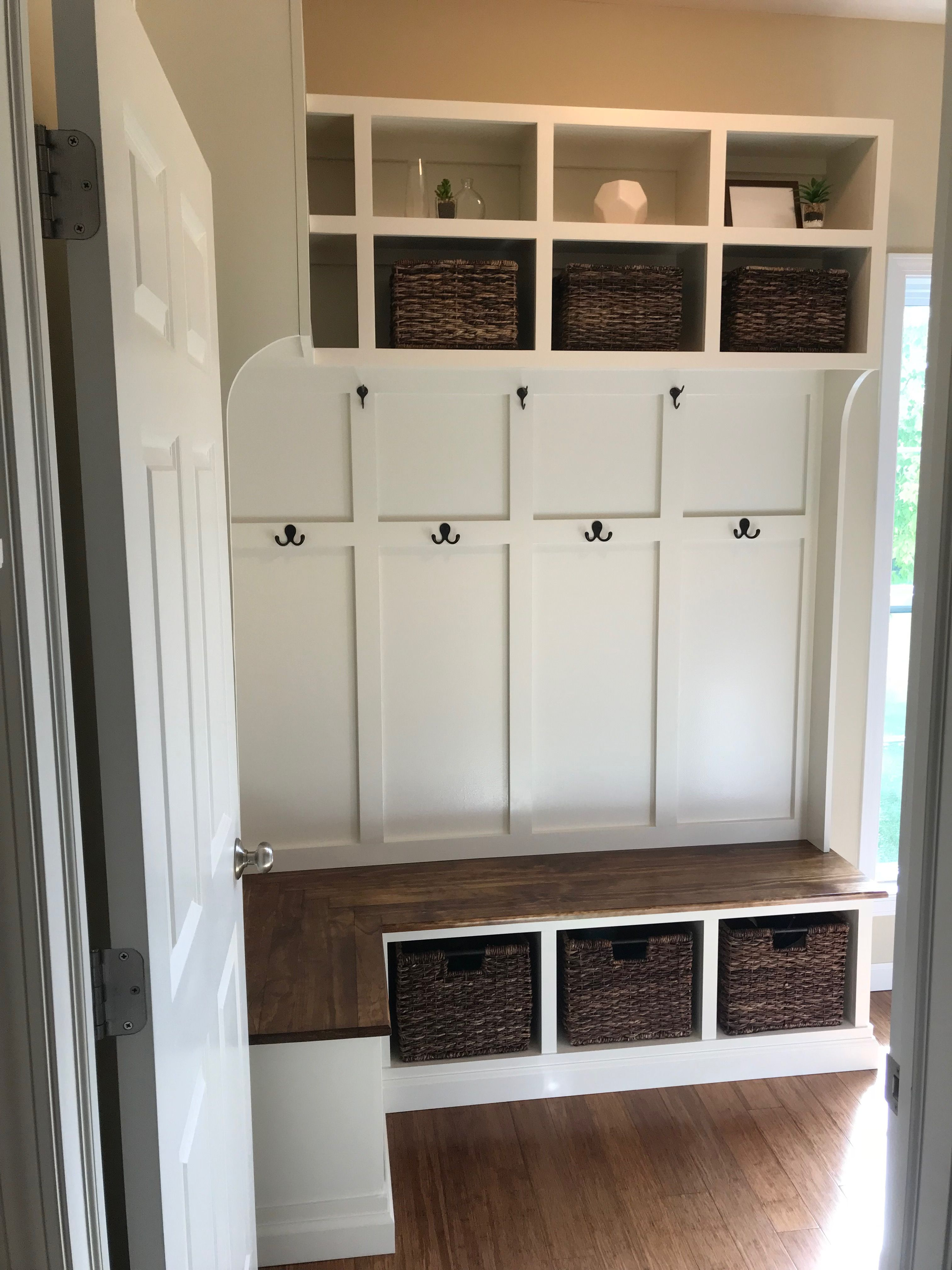 Corner Bench With Tall Cubbies And Hooks Custom Build Designed Around Milk Crate Baskets From Target Mud Room Storage Laundry Mud Room Mudroom