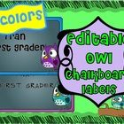 Chalkboard and Owls are SUPER HOT trends right now.  You get 8 colors and two fonts with various colorful owls.    I use these labels for various t...