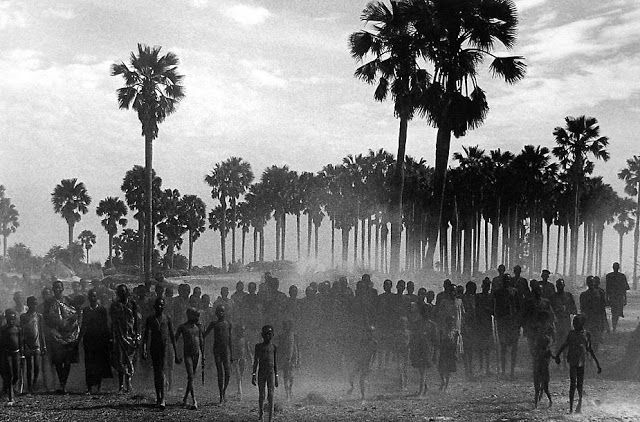 The population of the cattle camp of Keny in Southern Sudan walk toward the polio vaccinators. By Sebastião Salgado