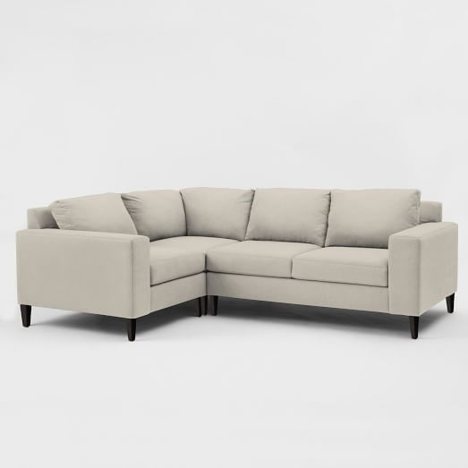 York Set 4: Corner, Right-Arm Loveseat, Left-Armchair, Poly, Chenille Tweed, Frost Gray  Westelm