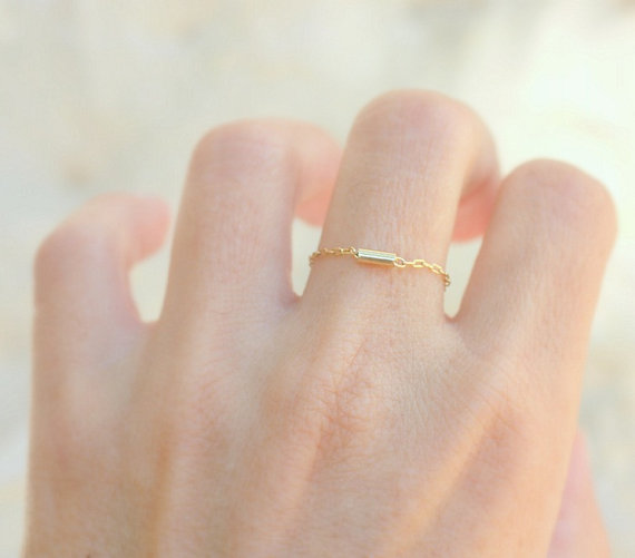 Thin ring 14k gold filled chain with tiny gold tube thin gold