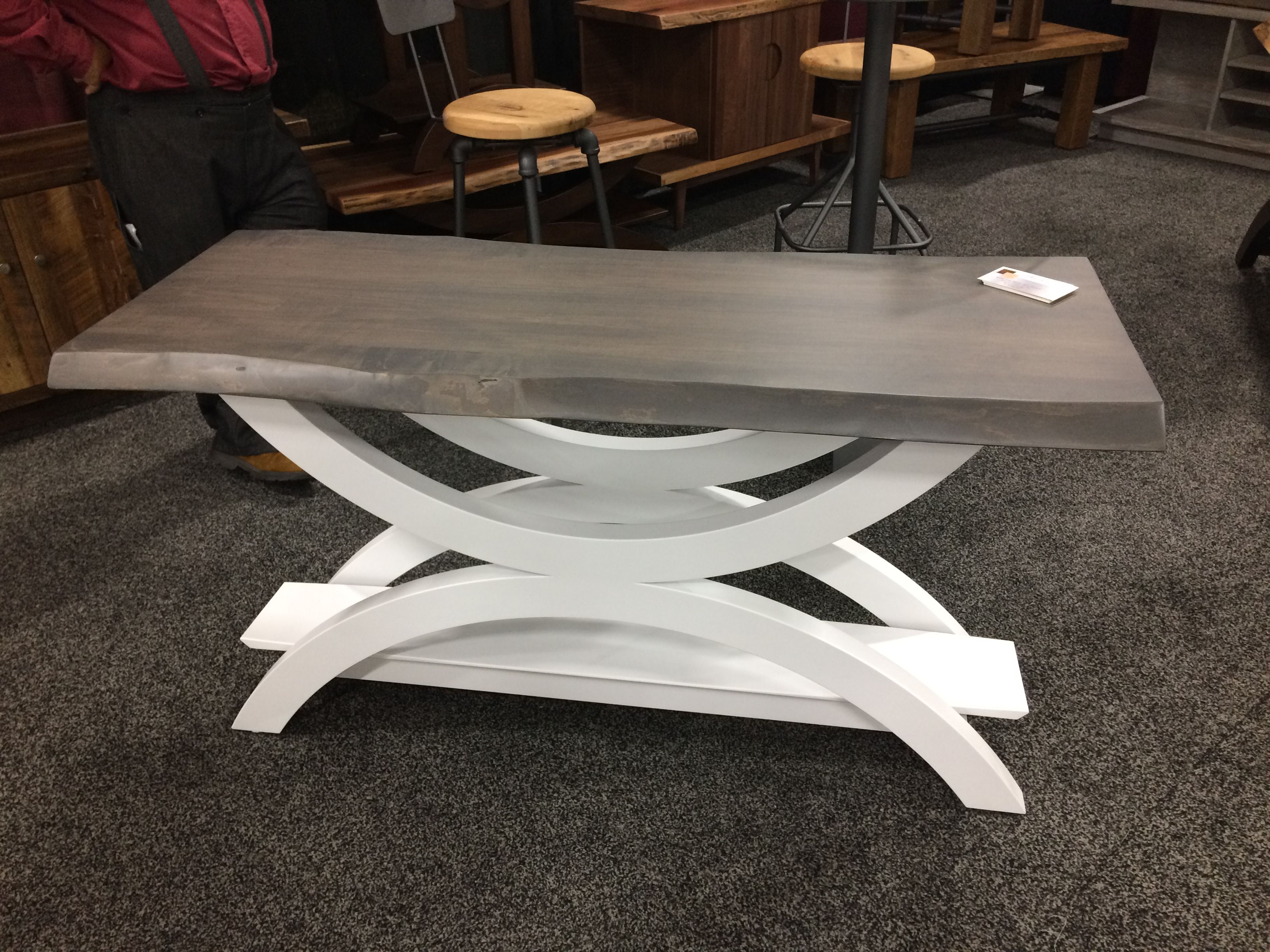 Sofa table with slab live edge top with midcentury modern base