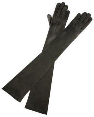 ShopStyle: Carolina Amato Gloves Opera-Length Leather Gloves, Black