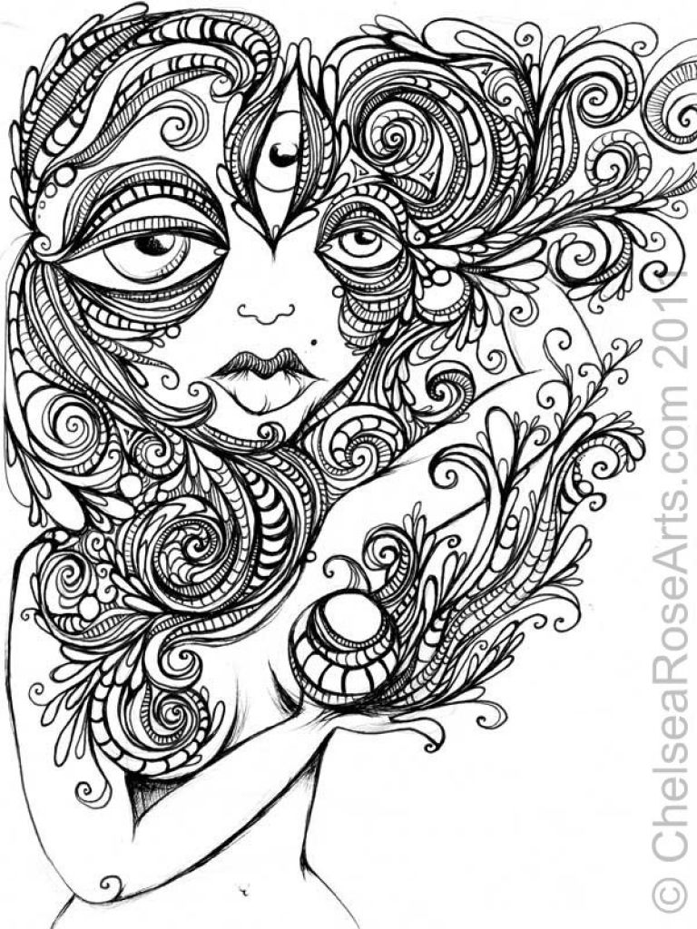 challenging trippy coloring page free for adults abstract