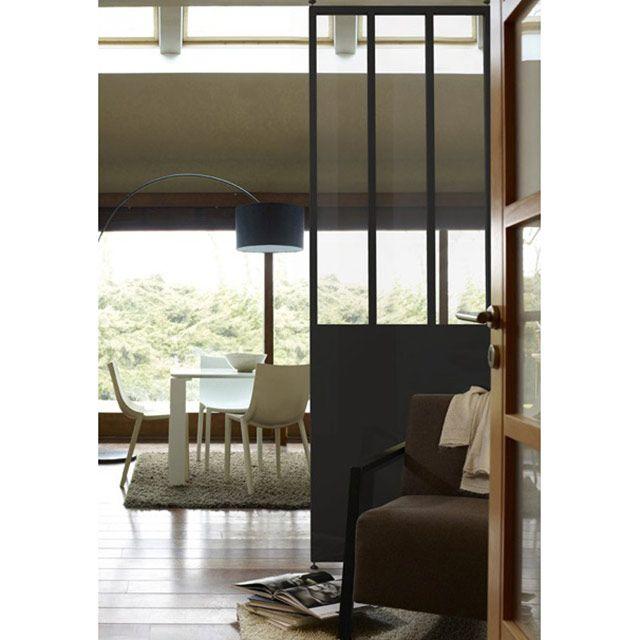 cloison industrielle noire effet vitres bois castorama. Black Bedroom Furniture Sets. Home Design Ideas