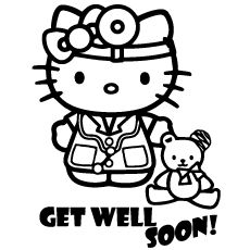 top 25 free printable get well soon coloring pages online - Kitty Doctor Coloring Pages