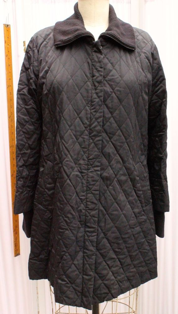 Eileen Fisher Black Quilted Car Length Coat with  Knit Trim Sz Large AN #EileenFisher #Coat