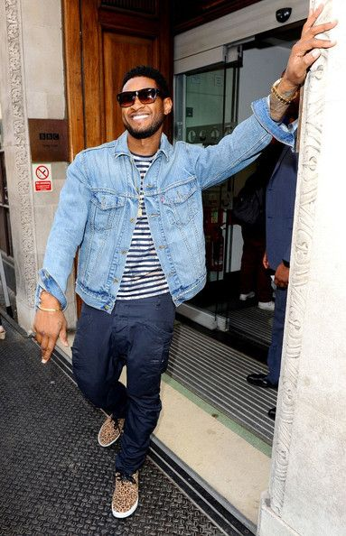 Usher wearing Light Blue Denim Jacket, White and Navy Horizontal ...