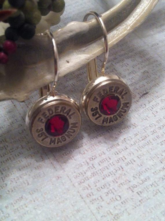 2nd Shot Jewels, Bullet/Shotgun Jewelry, Leverback Earrings, 357 mag