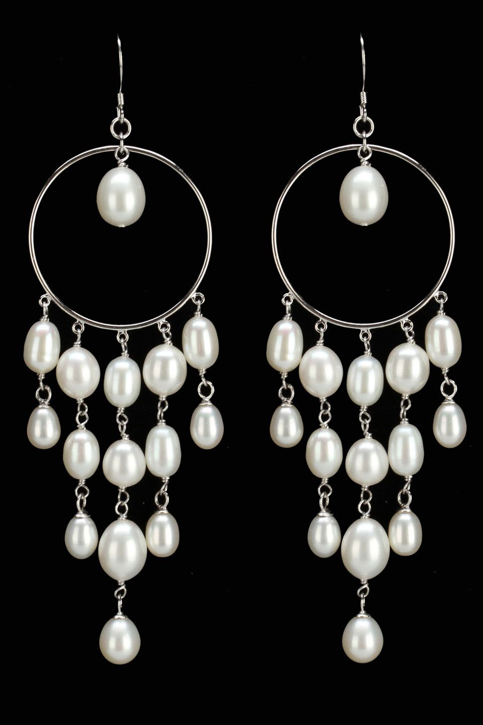 Freshwater pearl chandelier earrings in white jewelry jubilee freshwater pearl chandelier earrings in white arubaitofo Image collections