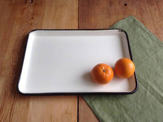 Soviet Vintage Medical Tray; Off White Enamel Tray With