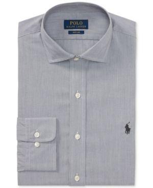 bcacecd8eb6 Polo Ralph Lauren Men s Classic Regular Fit Easy-Care Micro-Stripe Dress  Shirt - Black white 16 32 33