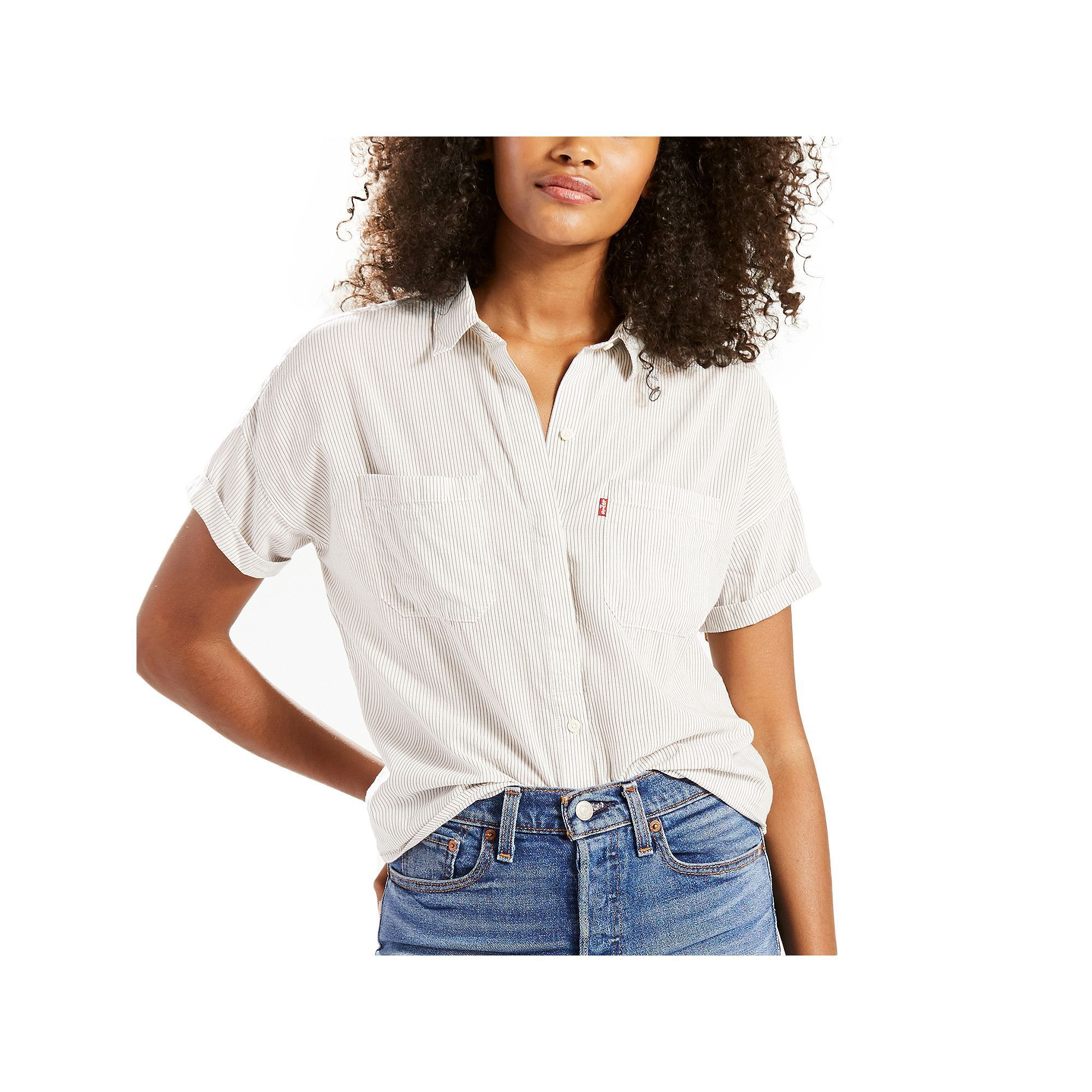 Women's Levi's Short Sleeve Button-Down Top, Size: Large, White