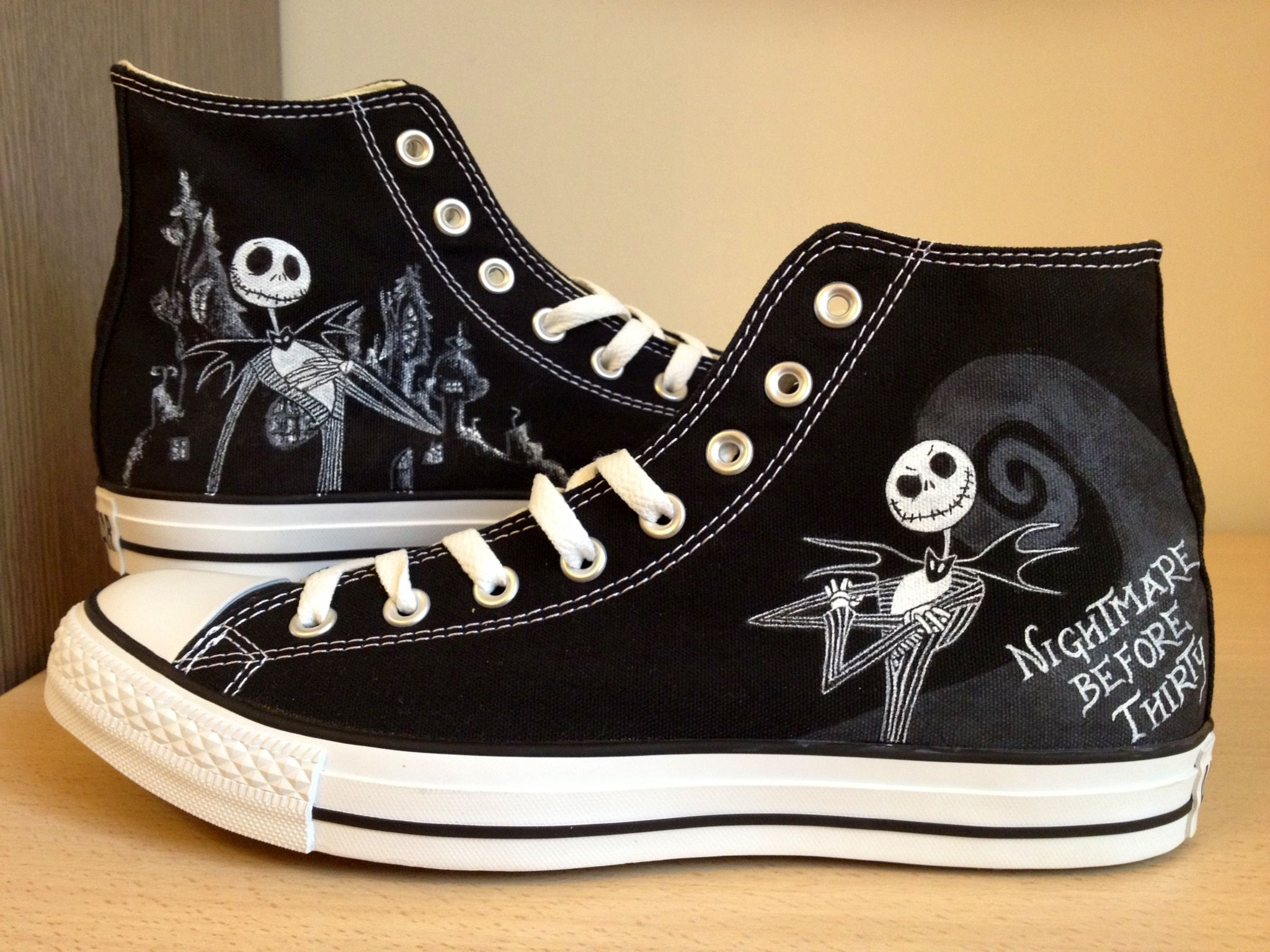 644f45ac096d Jack Skellington hand painted converse high tops. Outstanding job on these!