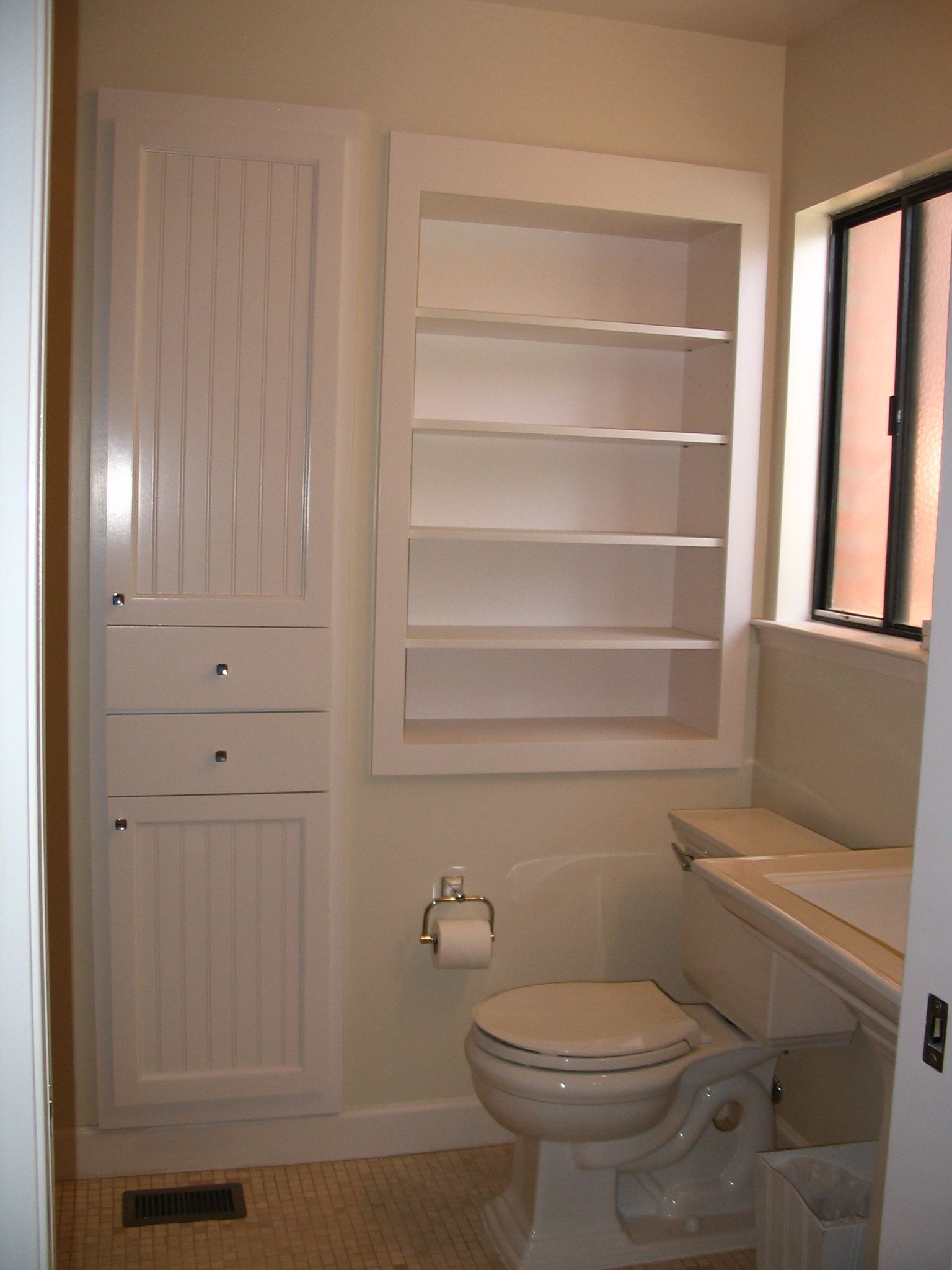 Recessed cabinets between the studs i don 39 t know why more for In wall bathroom storage
