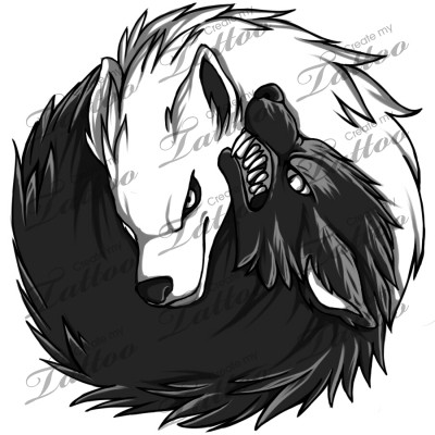 b174c16697252 Marketplace Tattoo Yin Yang - Wolves #5357 | CreateMyTattoo.com ...